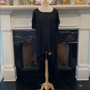 New worn black sheer high-low top